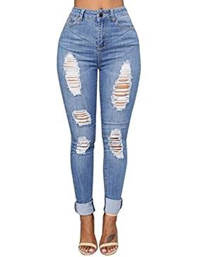 Pantalones para Mujer Cintura Alta Grandes Pantalones Leggins Mujer Elástico Flacos Skinny Slim Fit Largos de...