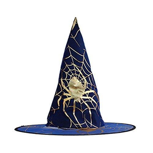 LANDFOX Halloween Hexenhut 1Pcs Adult Damen Hexe Hut für Halloween Kostüm Zubehör(Farbe Zufällig) Hexenhut für Erwachsenene Esmeralda Zylinder für Kinder, One - Esmeralda Kostüm Kinder