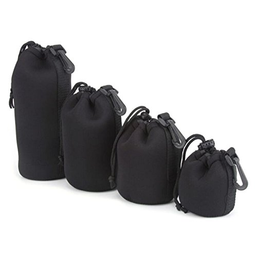 Price comparison product image 4 pcs(S+M+L+XL) Camera Neoprene DSLR Lens Soft Pouch Protector Case Cover Sleeve Bag Set For Canon, Nikon, Sony, Pentax, Olympus (PO0001)
