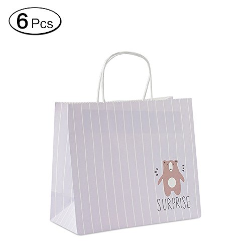 Jia HU 6niedliche Tiere Papier Geschenk Beutel mit Griffen Verpackung Tasche Bulk für Reinigungstuch Baby Dusche bär