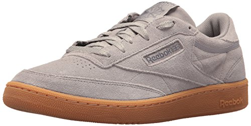 Reebok Men\'s Club C 85 GS Cross Trainer, Powder Grey/Ash Grey-Gum, 8 M US