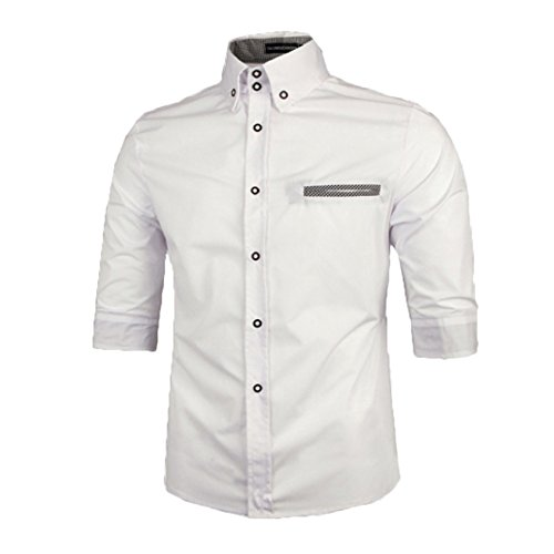 Hommes Chic Chemisette Habillee 1/2 manches chemise d'affaires occasionnel couleur contraste Blanc
