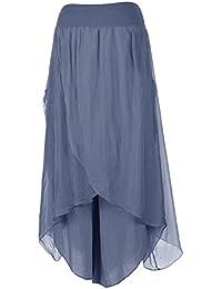 Damen-Frauen Italian Lagenlook Quirky Layering Viskose Flap Overlay Viscose Wide Leg Baggy Plain Harem-Hose-Hosen Einheitsgröße