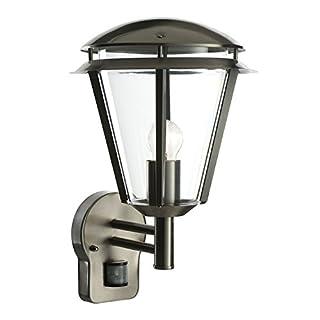 Saxby Inova 60W Brushed Stainless Steel PIR Modern Outdoor Garden Motion Sensor IP44 Wall Light