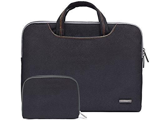 Bohemien Segeltuchstoff Hülle Sleeve Laptop Aktentasche MacBooks Laptops NL Hell Blau 15.6 Inch NL Schwarz