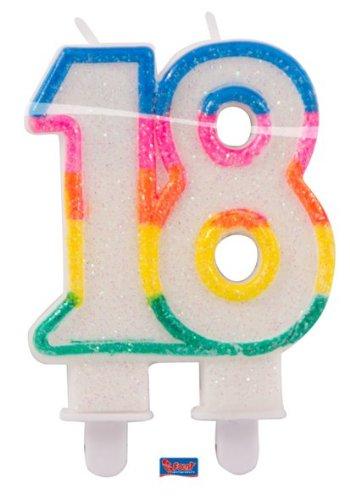 Folat Glitterkerze 18 Geburtstag