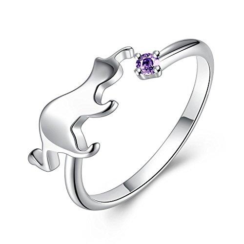 GemShadow Frauen Mädchen 925Sterling Silber Zirkonia verstellbar Ring Katze