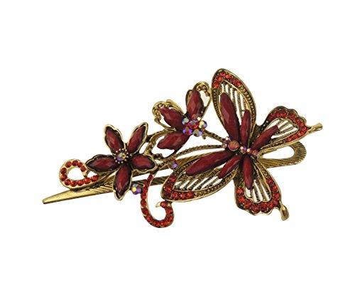 Broche vintage femenino para el pelo, con horquilla y diseño brillante de mariposa y flores (11 cm)