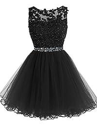 MicBridal® Ballkleider Damen Sonderangebote Kurz Spitzen und Tüll Rund-Ausschnitt mit Strass Plus Size Abendkleider