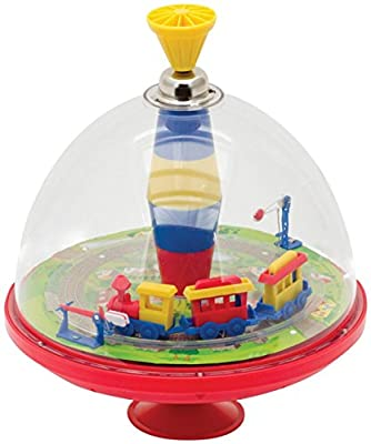 Schylling SC-TTP Electronic Train Top Toy with Moving Train that Makes Noises When the Top is Pumped