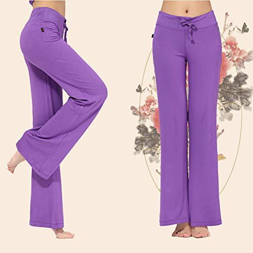 Dongqilai Breites Bein Sporthose Frauen hohe Taille Stretch Verband Flare Hosen breites Bein Dance Yoga Hosen Lange Hosen s-4xl,Lila,XXL Purple Flare-hose