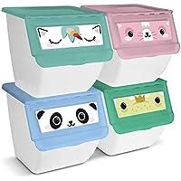 BRAVO HOME Boîtes de Rangement Empilables en Plastique 39x39x36 cm, Lot de 4 Organisateurs de Jouets 36L, Tiroirs…