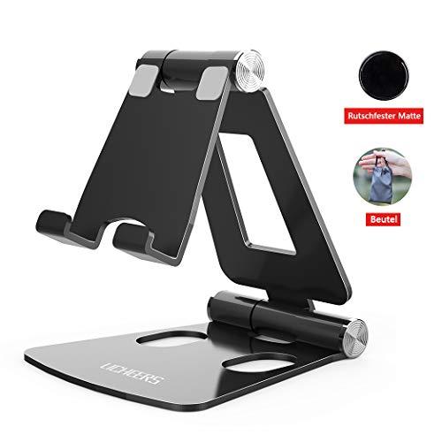 Licheers Handy Ständer, Multi-Winkel Tisch Handy Halterung: Handyhalterung kompatibel mit Phone Xs Max, Xs, XR, X, 8, 7, 6 Plus, Pad Air 2 3 4, Mini 2 3 4 und Geräte von 4-8 Zoll (Schwarz)