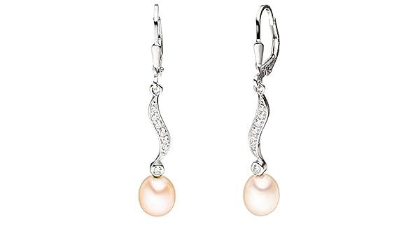 Damen Ohrringe Ohrhänger Boutons 925 Sterling Silber 2 Süßwasser Perlen Zirkonia
