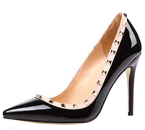 AOOAR Damen Übergröße High Heels mit Nieten Pumps Schwarz Lackleder EU 38