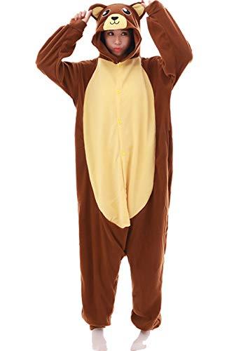 Zbsport pigiama donna uomo cosplay orso bruno animato costume camicie da notte carnevale halloween
