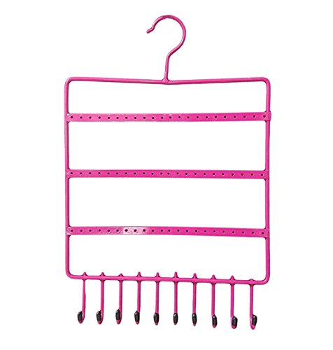 Pink Metal Hanging Jewellery Holder Display Stand Organizer For Earrings Necklace (27x38CM)