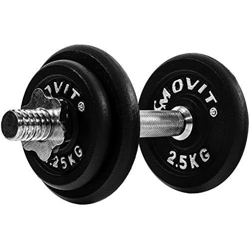 MOVIT Gusseisen Kurzhantel Set, Varianten 1x10 bis 1x30 kg, Stangen gerendelt mit Sternverschlüssen