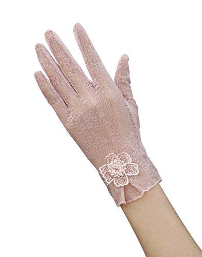 EEVASS Donne UV Protezione Estate Guanti Corti Guanti di Pizzo Eleganti Guanti Corti per il Vestito, Guidare, Matrimonio (Rosa)