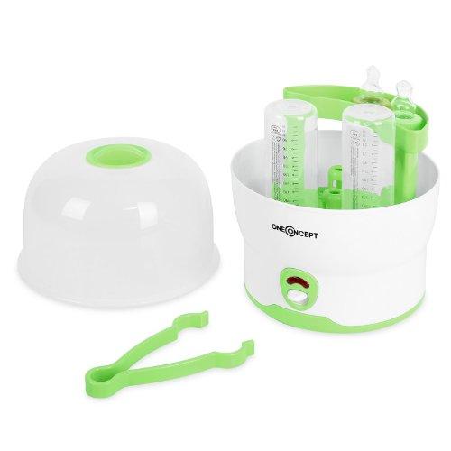 oneConcept Mom&Me - Stérilisateur pour 6 biberons ultra-rapide pour hygiène du bébé (>8minutes, tétines, hochets) - vert
