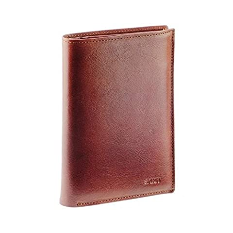Grand portefeuille homme / Portefeuille en cuir marron N1558 Carte