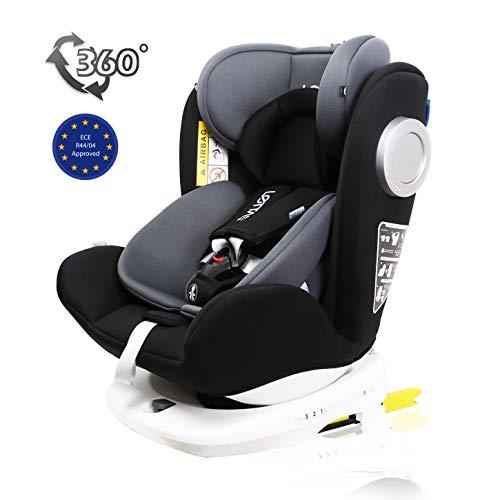 LETTAS Baby Autositz 360° drehbar Gruppe 0+1/2/3 (0-36 kg/0-12 Year) mit Protektoren seitliche Isofix Top Tether ECE R44/04 (Schwarz-7)