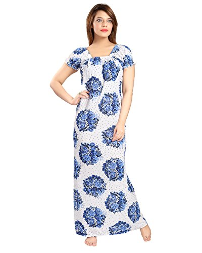 Be You Fashion Women Serena Satin Blue Printed Night Gown  available at amazon for Rs.330