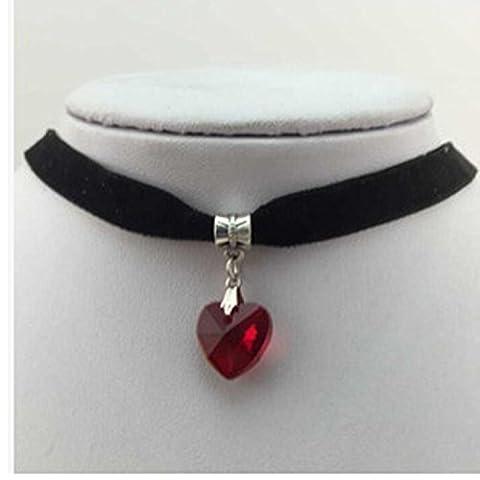 CHIC*MALL Gothic Velvet Heart Crystal Choker Handmade Necklace Pendant Retro 80 90s New (Red)