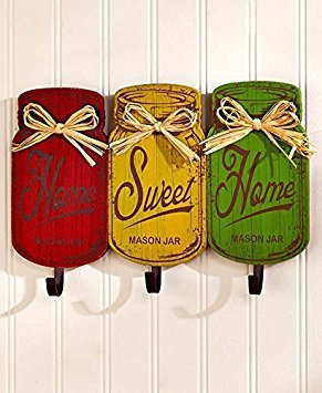 Holz rot gelb grün rustikal HOME SWEET HOME Metall Haken Rack Utensilienhalter Handtuchhalter Wandschild Primitiv Mason Jar Tuscan French Country Kitchen Decor