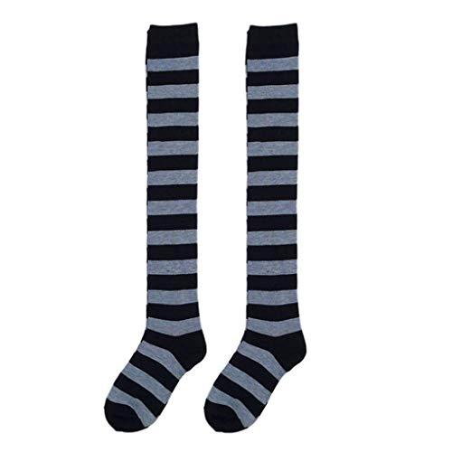 en-Bunte Regenbogen-gestreifte Lange Socken gestrickte Strümpfe über Knie-Strumpfhose-Bein-Wärmer ()