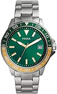 FOSSIL MENS BANNON 3H STAINLESS STEEL WATCH - BQ2506