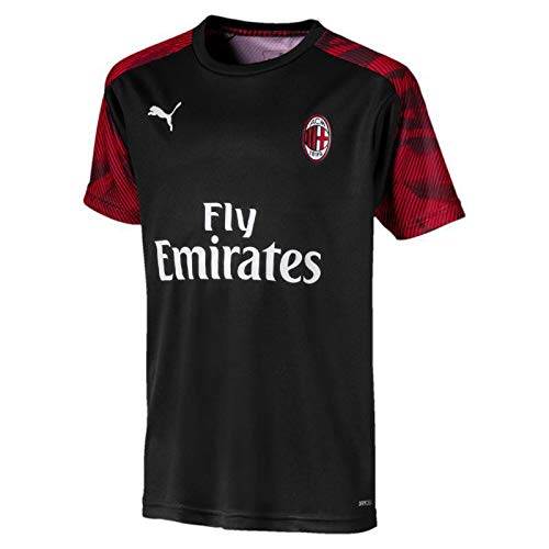 Milan Training Shirt (Puma 2019-2020 AC Milan Training Football Soccer T-Shirt Trikot (Black) - Kids)