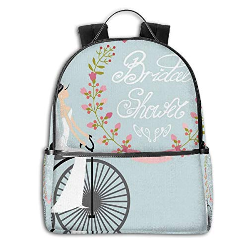 Side Panel Dress (College School Backpacks,Bride In Wedding Dress with Bicycle Flowers,Casual Hiking Travel Daypack)