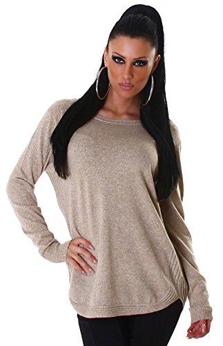 Jela London Damen Pullover mit abgesetzten Kanten Einheitsgröße (34-40), beige