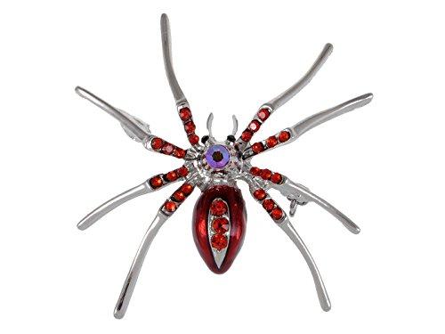 Kostüm Allerheiligen Muster - Alilang Silber Rot Süß Glitzer Strass Gruselige Kostüm Halloween Spinne Brosche