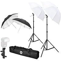 Flash Mount sombrillas TFJ Professional Flash Shoe Mount Swivel Suave Umbrella Kit con e - Type Brackets Version para Canon, Nikon, Sony, Pentax, Olympus y Otras DSLR y Studio LED