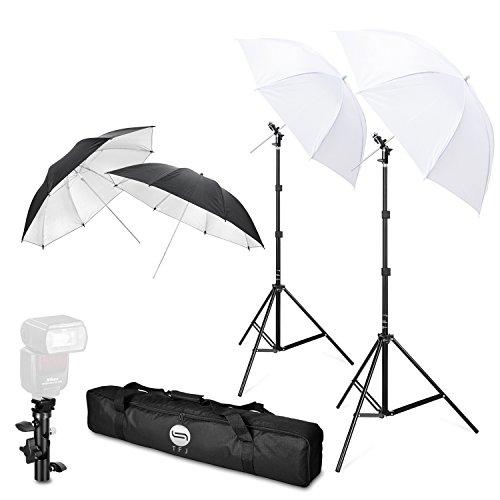 Tfj - kit di ombrelli fotografici con supporto flash, set professionale, supporto girevole, con staffe di tipo e, per canon, nikon, sony, pentax, olympus e altre reflex e studio led