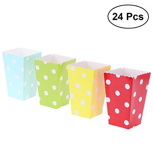 NUOLUX 24pcs cajas de palomitas titulares contenedores cajas de lunares bolsas de palomitas de papel de caramelo (rojo, amarillo, azul, verde)