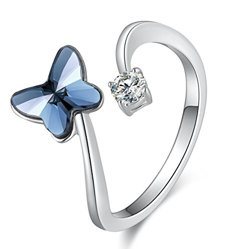 Ringe Modeschmuck Große (Modeschmuck Blau Schmetterling Blume Verstellbar Fingerring Ring für Damen mit Kristallen von Swarovski®, Eine Grösse Passt Alle, Einzigartige Geburtstagsgeschenke für Frauen)