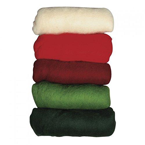 RAYHER 5364600 Reine Schurwolle, Vlies, 5 Farben 20 g, Wintermix Christmas Greetings