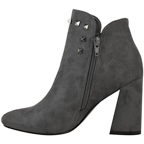 Donna CUBANI BLOCCO MEDIO tacco alto stivali caviglia BORCHIATO CHUNKY SCARPE NUMERI grigio camoscio sintetico/CANNA DI FUCILE BORCHIA