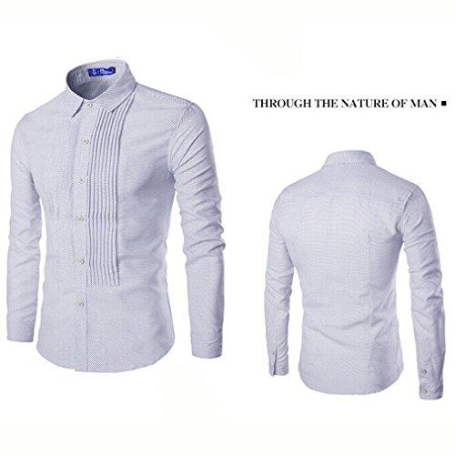 Honghu Homme Casual Slim Fit Manches Longues Des Taches Chemise Blanc