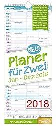 Wandkalender Planer für Zwei 2018 17x42cm, 3 Spalten, Ferientermine, viele Zusatzinfos