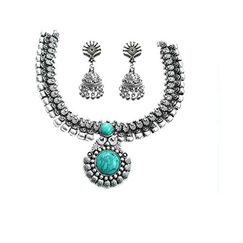 Indian Handicrafts Export Kaizer Jewelry Antique Oxidized German Silver Jewellery Necklace Set with Jhumki for Women Girls Chic Saree