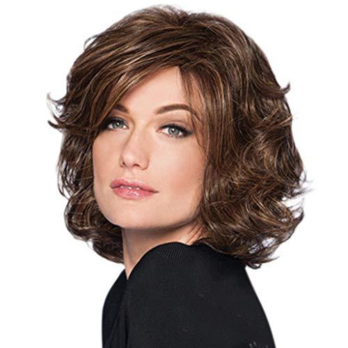 amen Mode Synthetische Kurze Flauschige Braune Haarperücke Natürliche Haarperücken Schöne Perücke Braun ()