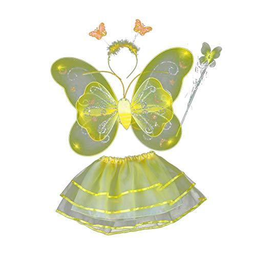 Amosfun 4-teiliges Mädchen-Kostüm, Feenflügel, Schmetterlings-Kostüm, Party-Kostüm-Set mit Flügeln, Tutu Halo für Verkleidung, Rollenspiele (gelb)