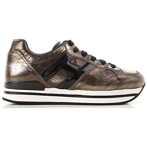 Hogan Scarpe Sneakers Running da Donna H222 con Lacci Nero Oro HXW2220T548JD81805 Oro, 39