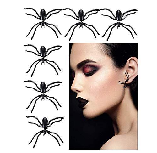 Gwill 3 Paare / 6 Stück schwarz Spinne Ohrringe Tier Ohrstecker Ohrringe Schmuck für Halloween unter dem Motto Party Supplies
