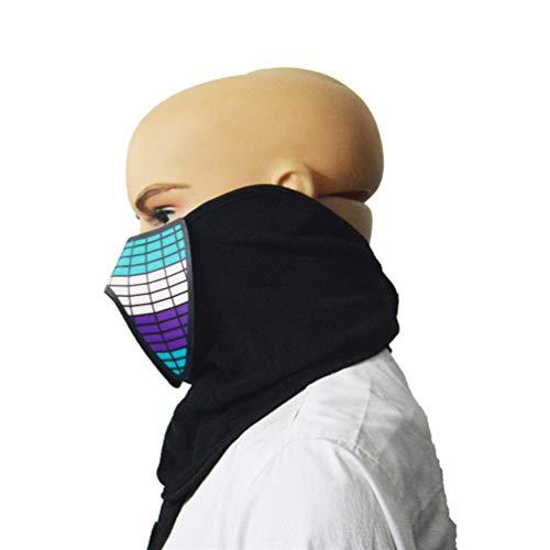 biteri Maske Klettverschluss LED Soundaktive Größenverstellbare Kopfbedeckung LED-Monstermaske Zauberschal für Halloween - Baby Beats Kostüm