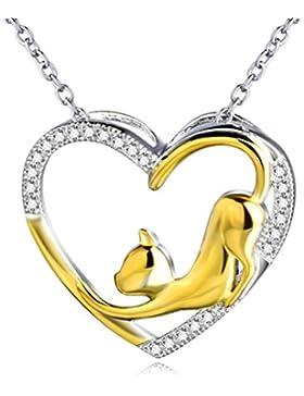 Silver Mountain 925 Sterling Silber vergoldet Katze Herz Zirkonia Anhänger Halskette
